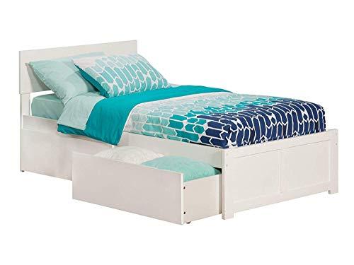 Atlantic Furniture AR8112112 Orlando Platform Bed with 2 Urban Bed Drawers, Twin XL, White (Wood Furniture Orlando)