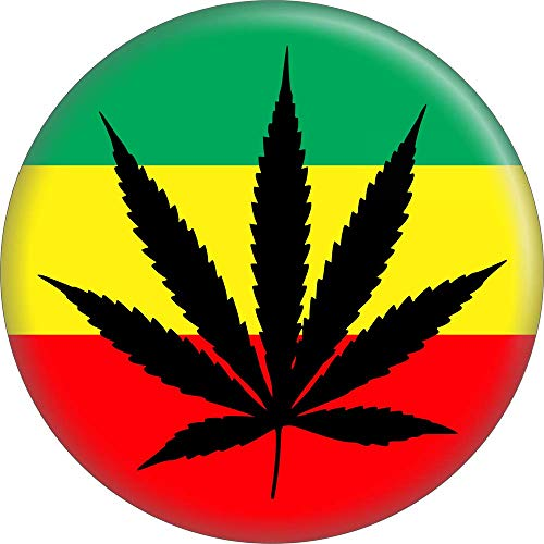 (Marijuana Leaf On Rasta Background - 2.25
