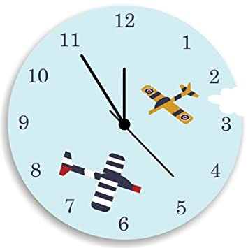 Amazon.com: Airplane Wall Clock for Boys Bedroom Wall Decor, Nursery ...