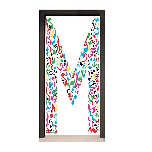 Letter M Decor Door Mural Major and Minor Notes and Other Musical Elements in Uppercase M Design Alphabet Decorative Door Sticker Multicolor,W23xH70 ()