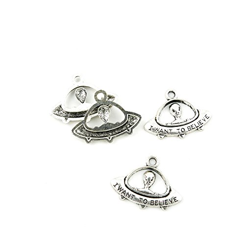 40 Pieces Antique Silver Tone Jewelry Making Charms A5LN2...