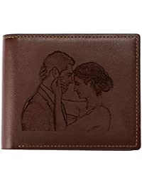 Custom Personalized Photo Wallet, Engraved Customized Picture Purse ID Card Slots Vintage Bifold Wallet for Men, Dad, Son, BF