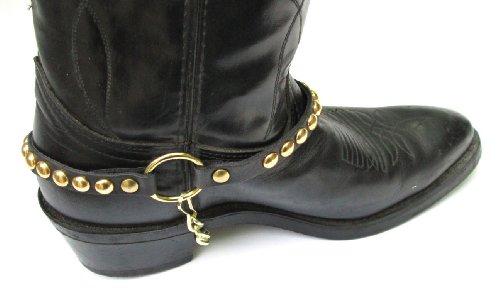 Bottes Western Boots Boot, Cuir Noir Avec Clous Dorés