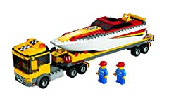 Includes 2 minifigures: truck driver and sailor;Open the Power Boat Transporter doors and cab;Accessories include coffee cup, life jackets and helmet;Measures over 12 (30cm) long and 3 (7cm) tall;Boat measures over 8 (20cm) long and 2 (5cm) w...