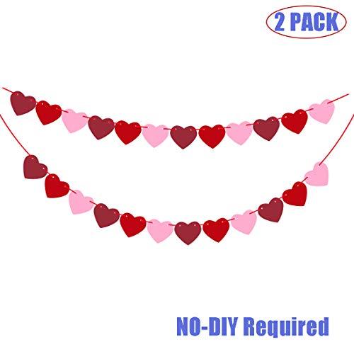 WOONOO Felt Heart Garland Banner - Valentines Day