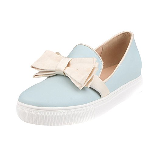 Women's Round Toe Flat Loafers Sweet Casual Shoes with Bow Blue - 7
