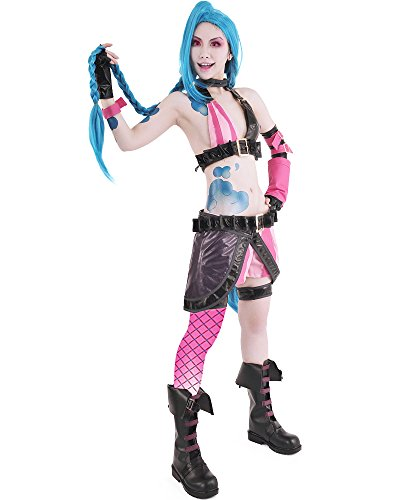 Miccostumes Women's League of Legends Loose Cannon Jinx Cosplay Costume (M)
