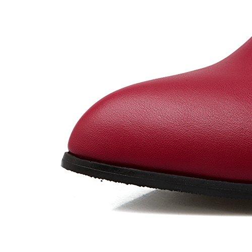 Amoonyfashion Kvinners Spenne Lave Hæler Pu Solide Påpekt Lukkede Tå Pumper-sko Røde
