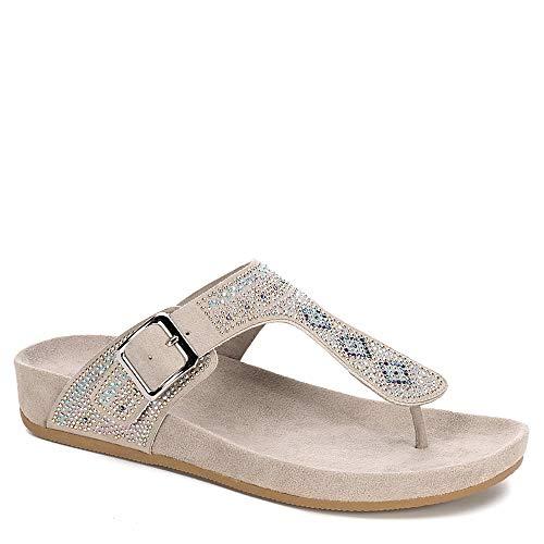 (B JORNDAL Bjorndal Womens Nikko Rhinestone Covered Thong Sandal Shoes, Grey, US 11)