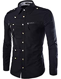 "<span class=""a-offscreen"">[Sponsored]</span>Casual Military Style Long Sleeve Men Button-Down Shirt Withpockets"