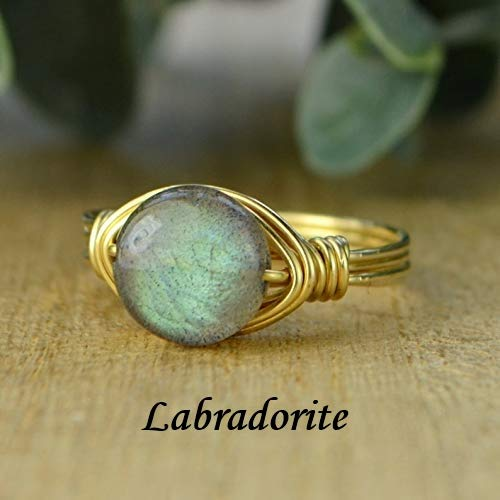 Yellow or Rose Gold Filled Wire Wrapped Ring Round White and Gray Howlite Coin Shaped Gemstone Sterling Silver Custom made to size 4-14