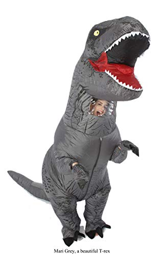 GOPRIME Jurassic T-rex Adult Sized Halloween Party Cosplay Fancy Inflatable Costume (Grey) -