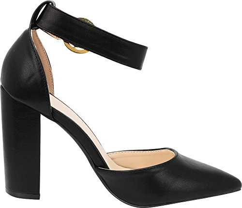 1dbd101e094 Cambridge Select Women s Closed Pointed Toe Buckled Ankle Strap Chunky  Block Heel Pump