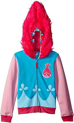 Trolls Girls' Big Girls' Movie Poppy Costume Zip Hoodie with Faux Fur on Hood, Blue/Pink, Small(7/8)