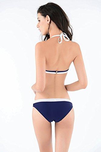 XLHGG Halter de las mujeres de dos piezas de baño bikini conjuntos cuello de halter Strappy traje de baño blue + white