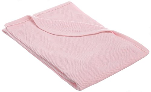 American Baby Company 30 X 40 - Soft 100% Natural Cotton Thermal/Waffle Swaddle Blanket, Pink, Soft Breathable, for Girls Cotton Thermal Receiving Blanket