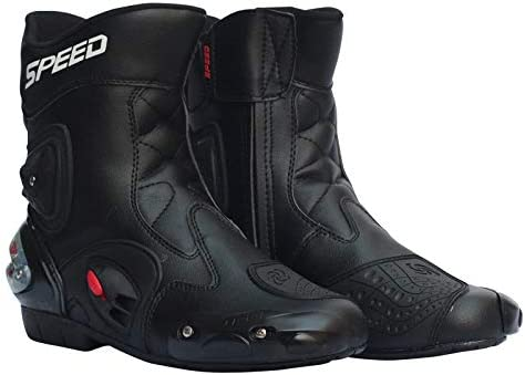 Mylujo Motorbike Boots Men Motorcycle Racing Shoes Leather Motorcycle Boots Riding Motorbike Motocross Off-Road Moto Boots red 7