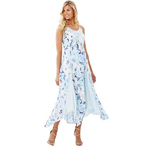 delicate Sexy Spaghetti Strap Mid Calf Length Paneled Handkerchief Hem  Chiffon Dress Blue