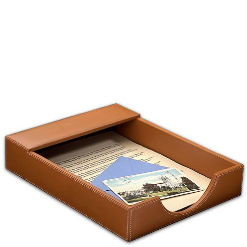 Levenger Morgan Letter Tray - Tan (AD6805 - Leather Levenger Morgan