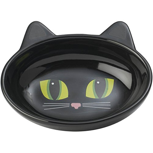 (PetRageous Oval Frisky Kitty Pet Bowl, 5.5-Inch, Black)