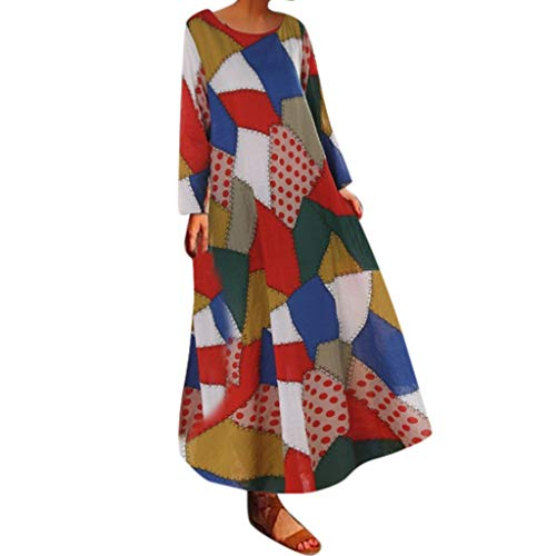 - Kawaiine Accessories Women Half Sleeve Color Block Multicolor Loose Bohe Beach Long Robe Cotton Dress Orange