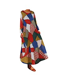 HHmei Women Boho Beach Stripe Dress, Multicolor Half Sleeve Loose Long Robe Maxi