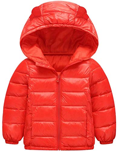 Etecredpow Boy Quilted Down Zip Hoodid Lightweight Solid Jacket Parka Coat Red 3T by Etecredpow
