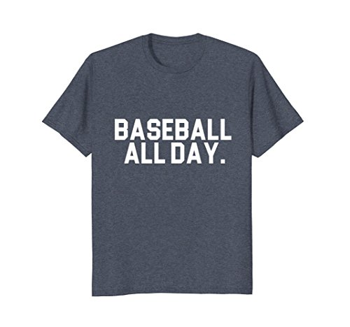 Mens Baseball All Day Sports T shirt for Ball games Small Heather Blue