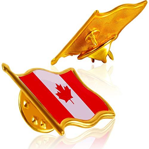 (Rhungift Canada Flag Pin Canadian National Flag Lapel pins Brooch pin Enamel Made of Metal Souvenir Men Women Patriotic (2) )
