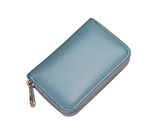 Imported leather Zipper organ multi-card bag Slim Wallet for men and women (Blue)