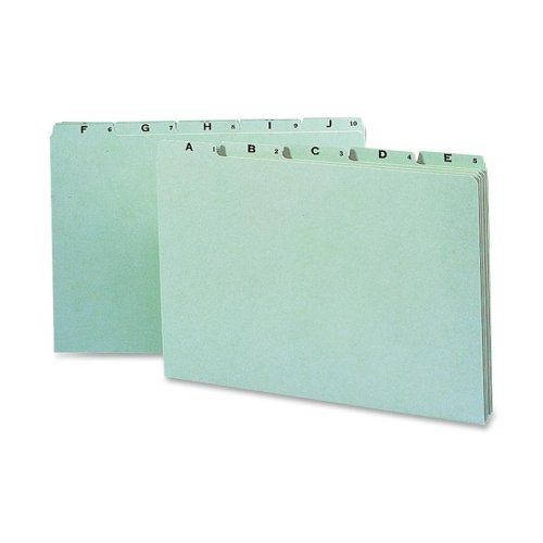 Wholesale CASE of 10 - Smead A-Z Green Pressboard Self Tab File Guides-A thru Z Pressboard Guide, 1/5 Tab Cut, Legal, Green Pressboard Self Tab File Guides