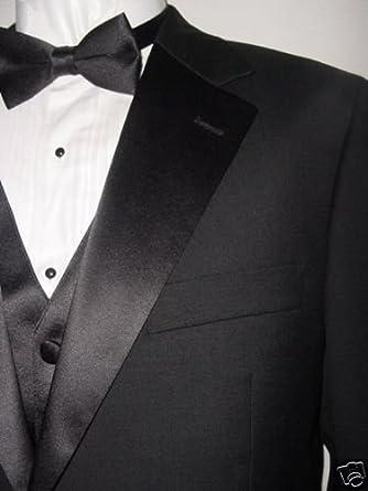 0e7d3a7f267ccf Mantoni 2 Button Men's Tuxedo Suit with Matching Satin Vest Solid Black and  Single Pleat Pants