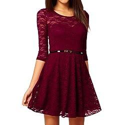 Ostart Sexy Lady Lace 3/4 Sleeve One-piece Dress (8, Wine Red)