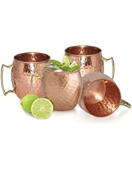 AVS Store Handmade Pure Copper Hammered Moscow Mule Mug (Pack of 4)