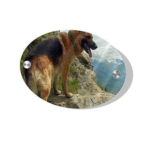 """German Shepherd Dog Pictures Door Sign for Home, Hotel, Office 1/4"""" Thick MDF Wood Wall Signs Open Welcome Sign for Spa, Bathroom, Law Firm, Massage 5.5 x 7.5 inch"""