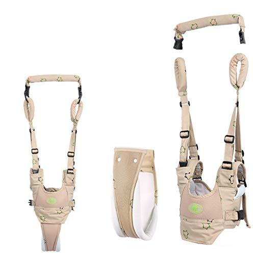 Baby Walking Harness Handheld Baby Walker, Adjustable Baby Walking Assistant Safety Harnesses, Soft Breathable Adjustable Harness Walking Belt for Toddler Infant Child Walker (Khaki)