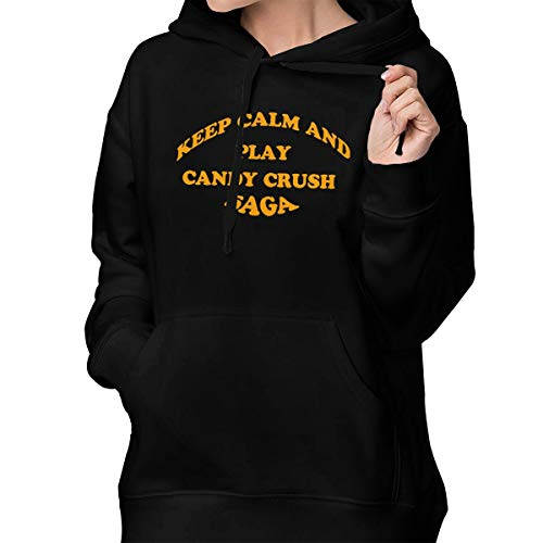 Women's Pullover Hoodie Keep Calm and Play Candy Crush Saga Hoodie Sweatshirt with Pocket