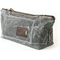 Waxed Canvas Toiletry Bag: Large, Travel, Organizer, Slate Grey - No. 317 (Made in the USA)