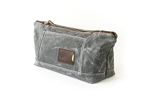 Waxed Canvas Toiletry Bag: Large, Travel, Organizer, Slate Grey - No. 317 (Made in the USA) by Sivani Designs