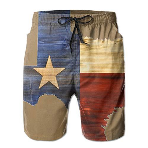 TARDIGA Texas Flag Map Men's Beach Shorts Swim Trunks Quick Dry Board Trunks with Pockets ()
