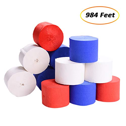 eborder 984 Feet Crepe Paper Streamers 4th of July White Blue Red Crepe Paper Streamer Roll for Independence Day Supplies, 1.77 Inches Wide, 12 Rolls