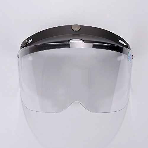 Black 3-Snaps Flip-Up Visor Clear Lens Full Face Shield Replacement For Open Half Face Helmet Motorcycle - Shield Helmet Replacement Motorcycle
