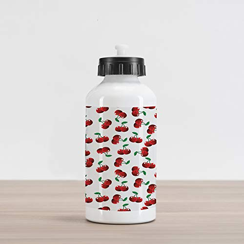 Ambesonne Fruits Aluminum Water Bottle, Vibrant Cherries Vitamin Agriculture Exotic Summer Garden Pattern, Aluminum Insulated Spill-Proof Travel Sports Water Bottle, Ruby Hunter Green Coconut