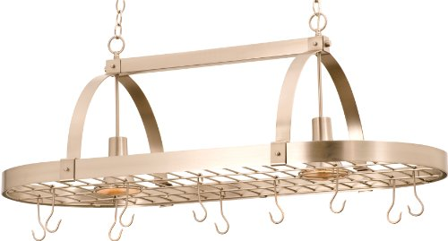 (Kalco 3617SN, Contemporary 1 Tier Pot Rack Chandelier Lighting, 2 Light, 100 Watts Halogen, Nickel )