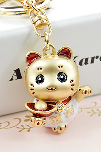 Generic High-end fashion creative couple keychain car cute cartoon gold ingot Lucky cat pendant jewelry for men and women