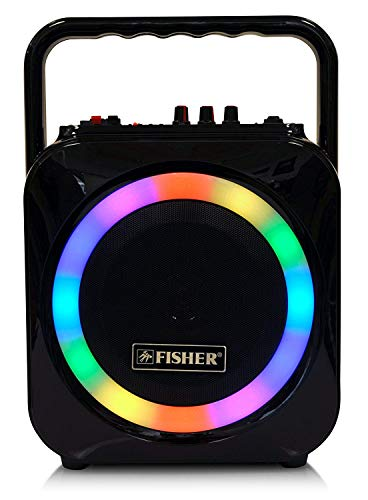 Fisher Wireless Sports Stereo System, 6inch Subwoofer Speaker, Bluetooth Enabled, FM Radio Player, Karaoke Features with LCD Display, LED Multicolor Lights, Auxiliary Input, and Ultra-Portable Design (Speakers Fisher)