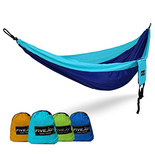 FiveJoy 2 Person Double Parachute Hammock (440lbs Capacity) - Lightweight & Compact for Hiking, Camping, Beach - Durable and Breathable Nylon with Portable Carrying Case for Outdoor Backpacking Travel