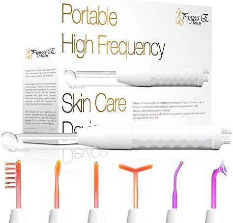 Project E Beauty Professional High Frequency Facial Machine  D'arsonval Spot Removal Wand Skin Tightening Wrinkle Fine Lines Removal Face Lifting Puffy Eyes Therapy Treatment Device - Neon & Argon Gas