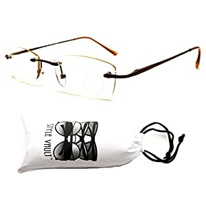 E3011-VP Style Vault Colored Clear Lens Rimless Rectangular Eyeglasses (B1369F Bronze-Brownish Clear)