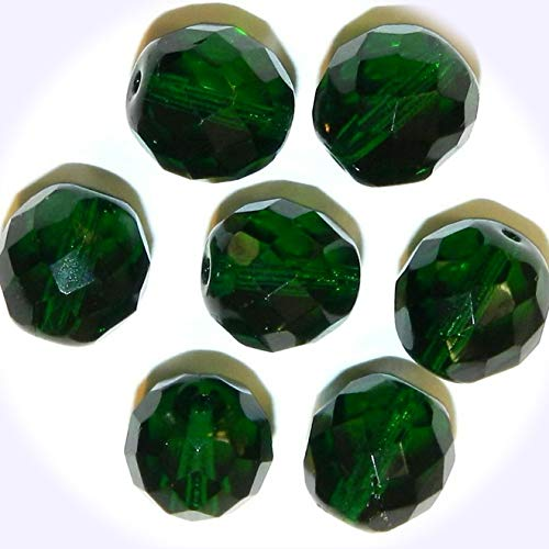- New Emerald Green 12mm Fire-Polished Faceted Round Czech Glass Jewelry-Making Beads 35pc DIY Craft Supplies for Handmade Bracelet Necklace